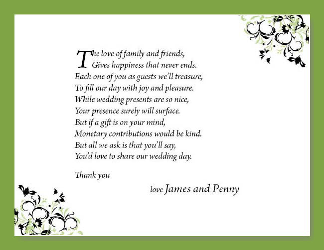 Wedding Poems For Money Gifts: 25 Money Cash Gift Poem Cards