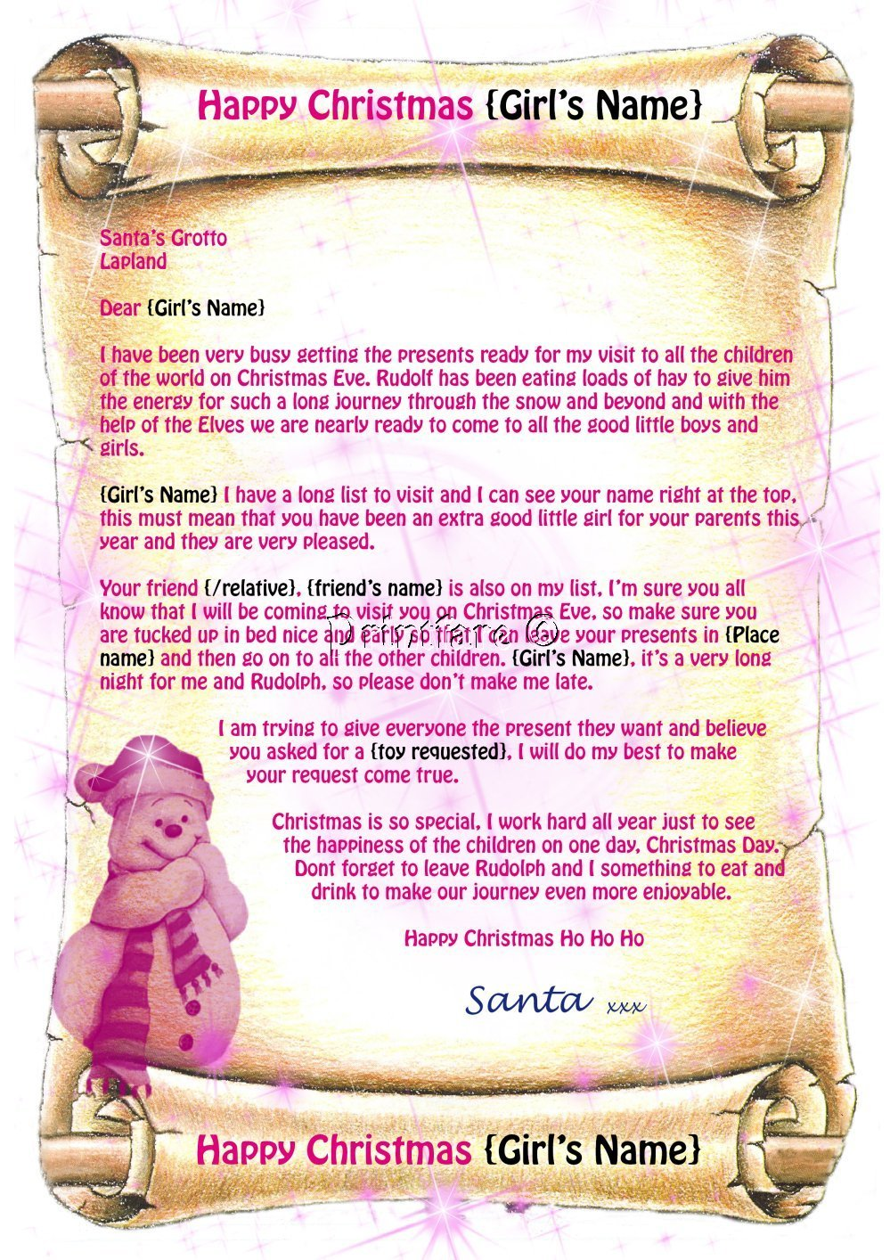 Personalised letter from santa certificate sign activity book pink letter hobo v1 available in this and other listings spiritdancerdesigns Gallery