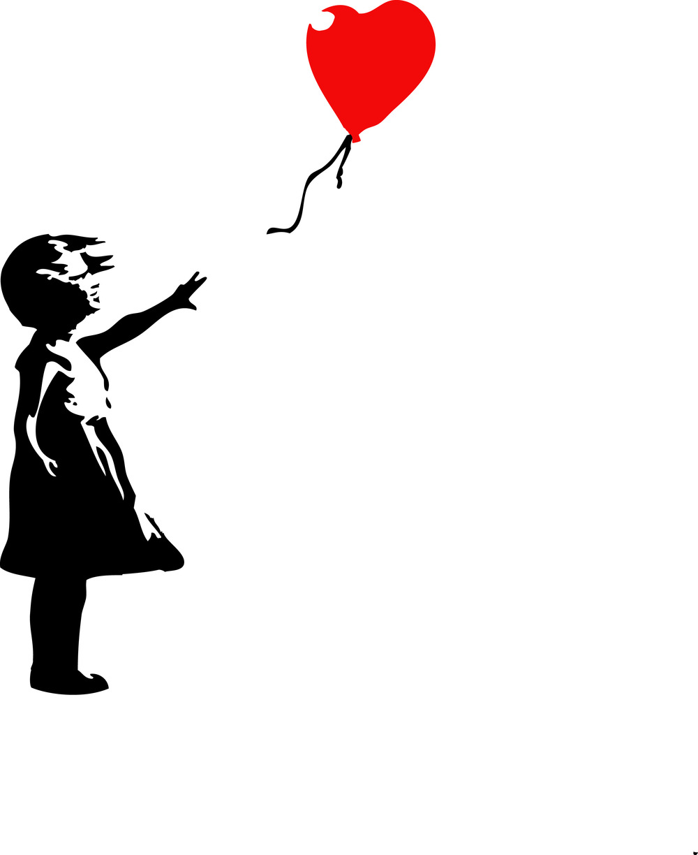 Banksy Style Girl With Red Balloon Kitchen Bedroom Wall