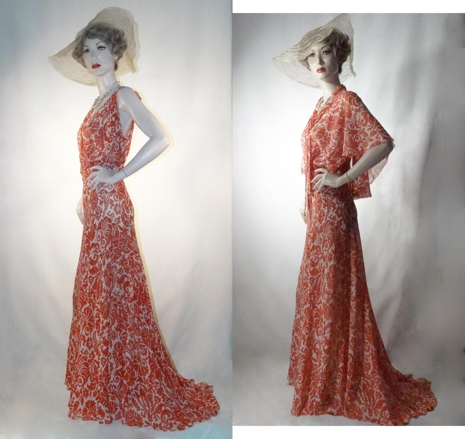 Vestido de noche vestido de té 1930s rojo seda chifón con Flutter ...