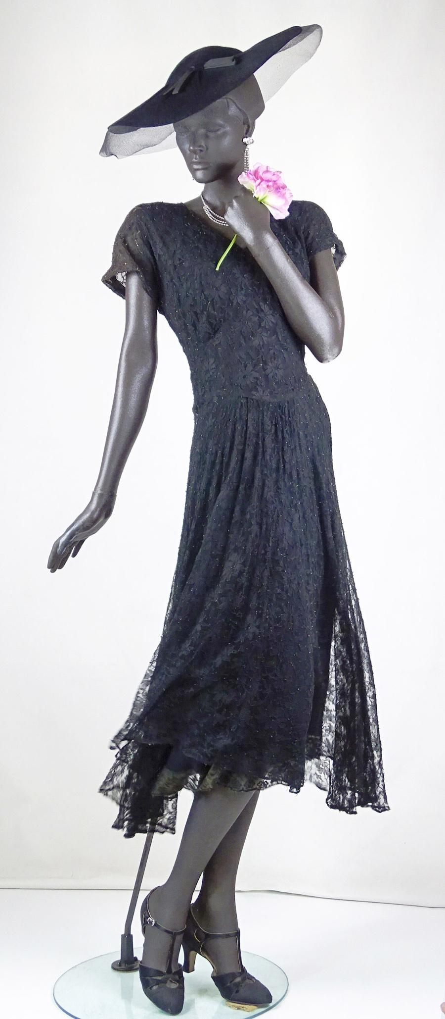 Original 30s Black BEADED Trim PEPLUM Evening Dress 8 S 1930s Vintage Starlet