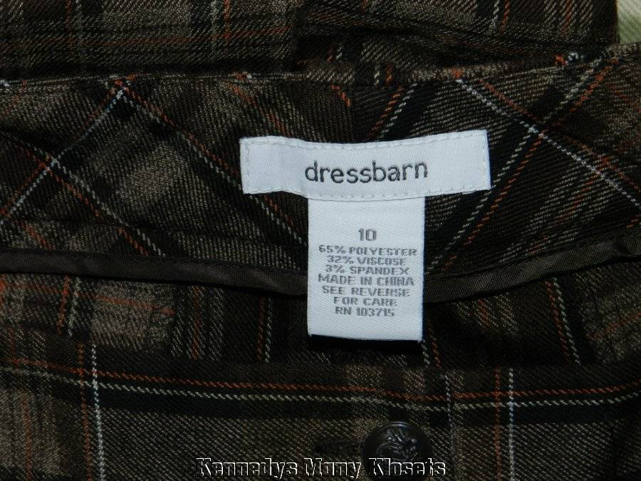 04267db1b5e Women s Dressbarn Brown Plaid Cuffed Cropped PANTS Excellent Size 10 ...
