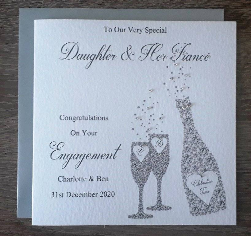 """Handmade 6/"""" Square Personalised Engagement Card"""