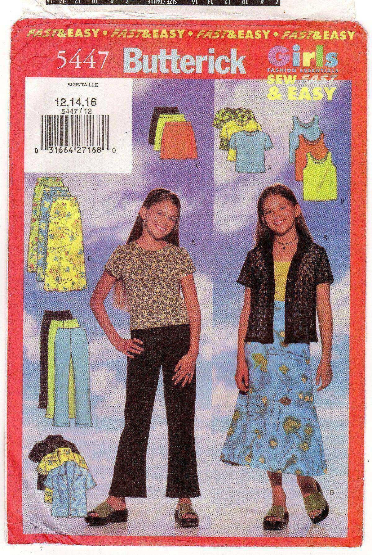 REDUCED BUTTERICK 3903 Girls/' Cardigan Top Skirt Pants 7-10