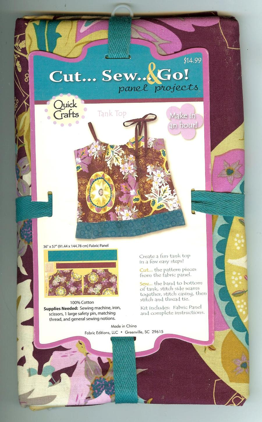 Quick crafts fabric panel 100 cotton tank top sewing for Quick and easy sewing projects to sell