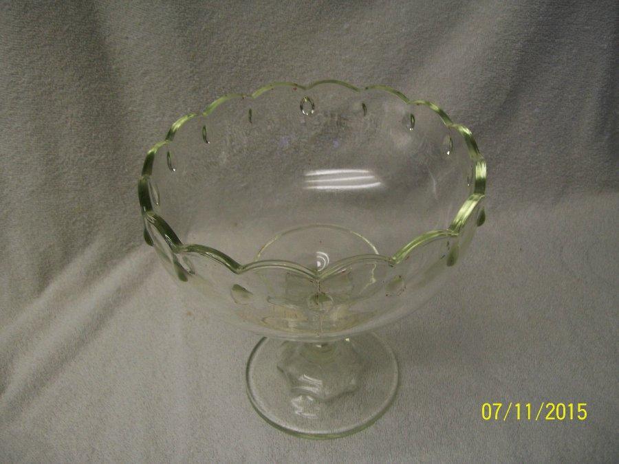 Details About Vintage Original Clear Pressed Gl Pedestal Bowl Pattern Unmarked Euc