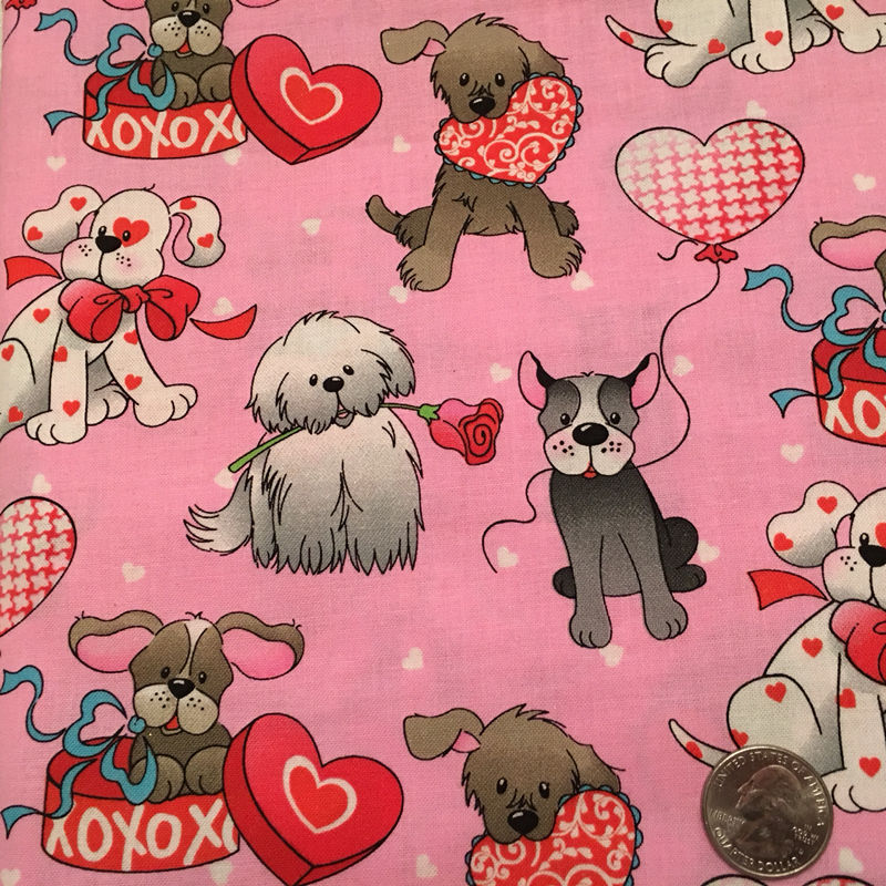 Valentines Day Puppy Dog Hearts Love Pink Fabric Cotton Fabric ...