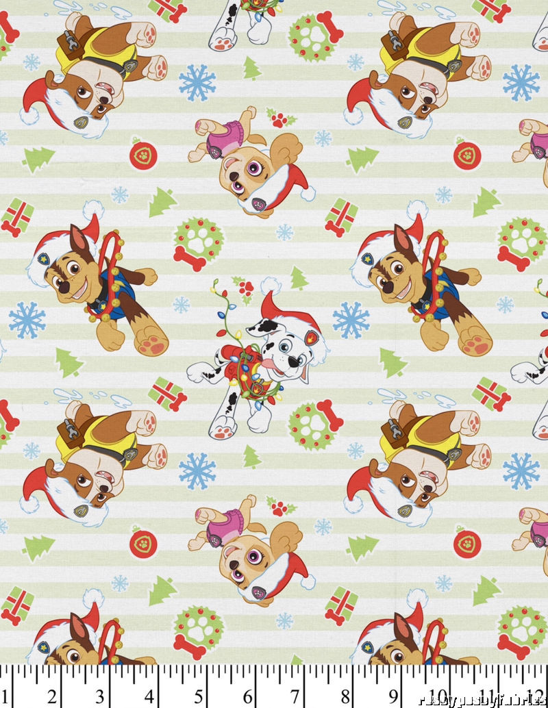 Paw Patrol Christmas.Details About Paw Patrol Christmas Fabric Cotton Stripe By The Yard