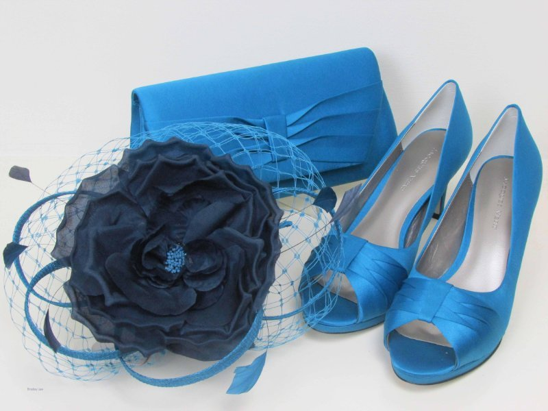 164f9d7497926 Jacques Vert Turquoise Pleated Court Shoes (6) Fascinator & Bag ~ BNWBox ~  Matching Set