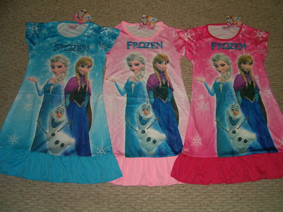 Disney Frozen Anna Elsa & Olaf Nightgown Pajamas Size 3/4