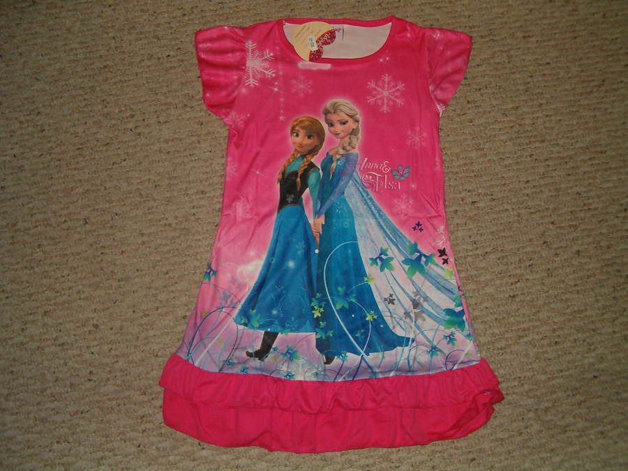 Disney Frozen Anna Elsa Nightgown Pajama Front Back Design 3/4 - 5/6 - 7/8 -9/10