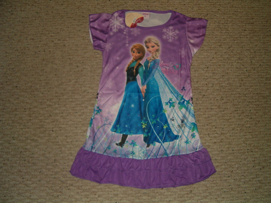 Disney Frozen Anna & Elsa Nightgown Pajamas Front Back Print 3/4 - 5/6 - 7/8 NWT