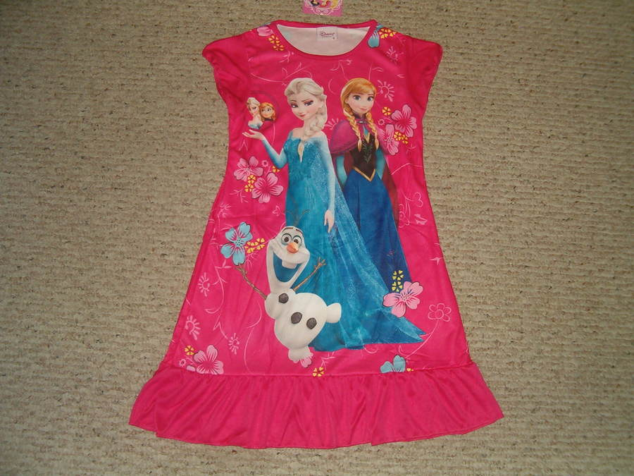 Disney Frozen Elsa Anna & Olaf Nightgown Pajama 3/4
