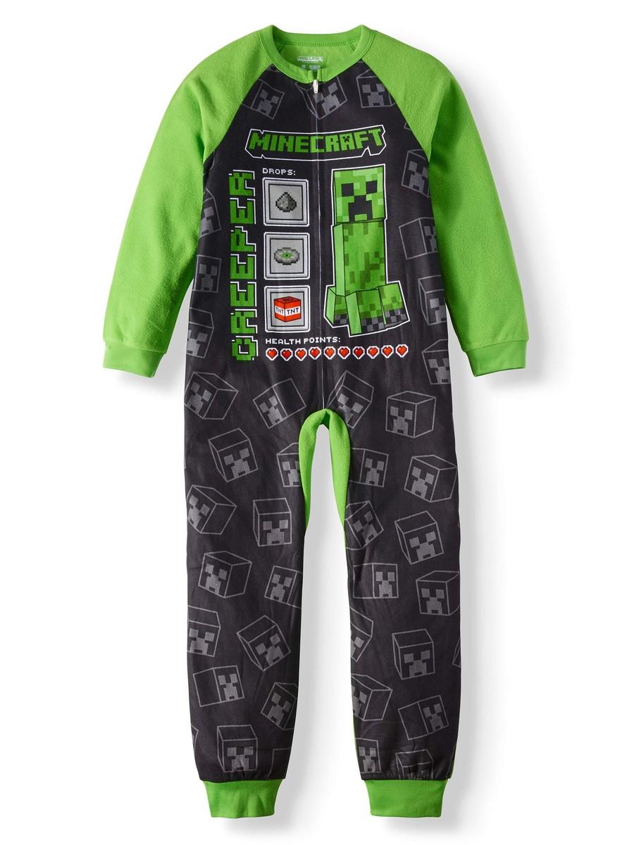 Minecraft Fleece Union Suit Sleeper Pajamas Size 8 or 10//12 NWT