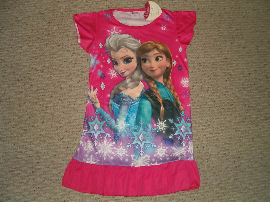 Disney Frozen Anna & Elsa Nightgown Pajamas New Design 3/4