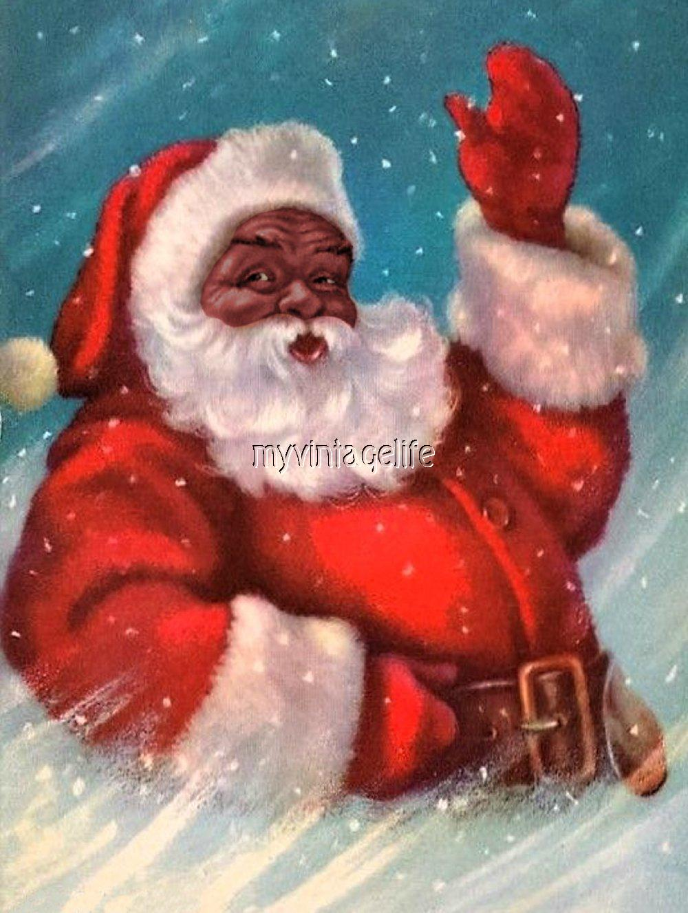 Black santa claus quilting fabric block 4 sizes african - African american christmas images ...