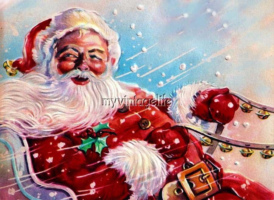 Vintage Santa Claus Sleigh Bells Christmas Quilting Fabric Block