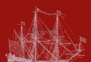 Blueprint Tall Sailing Ship Masts Sail Boat 2 colors Nautical Fabric Block
