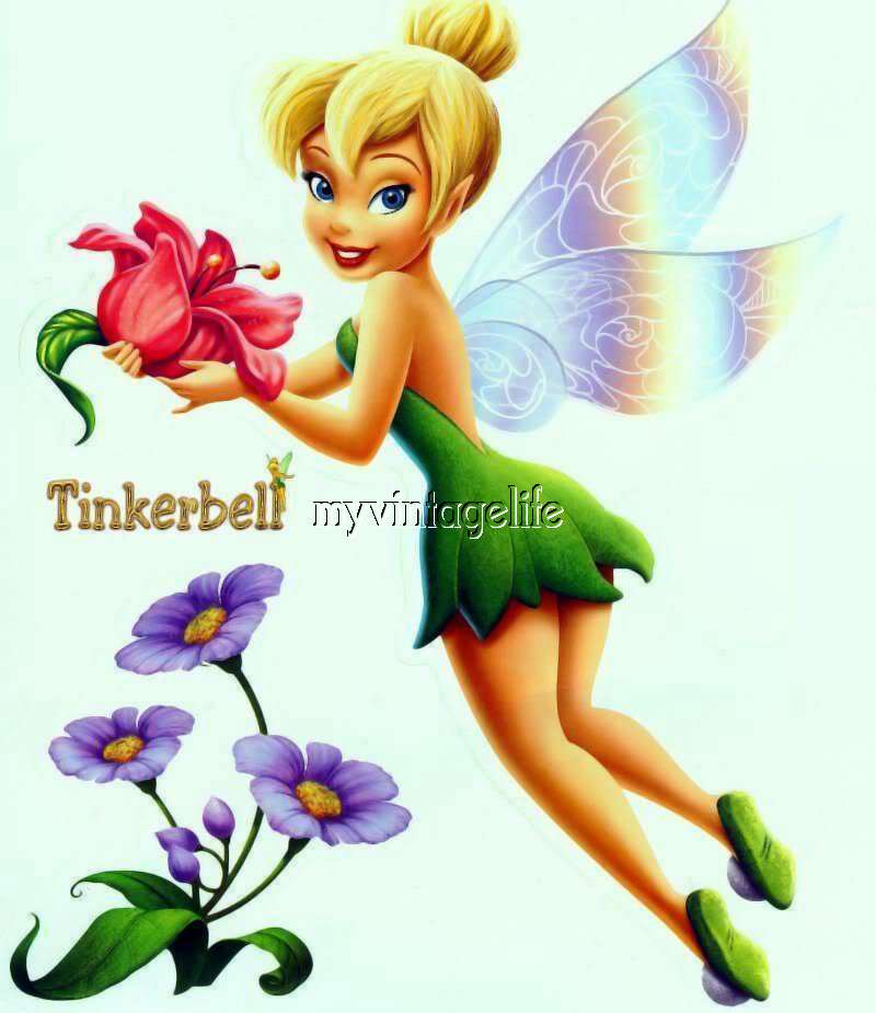 Beautiful Tinkerbell Fairy flowers Quilting Fabric Block