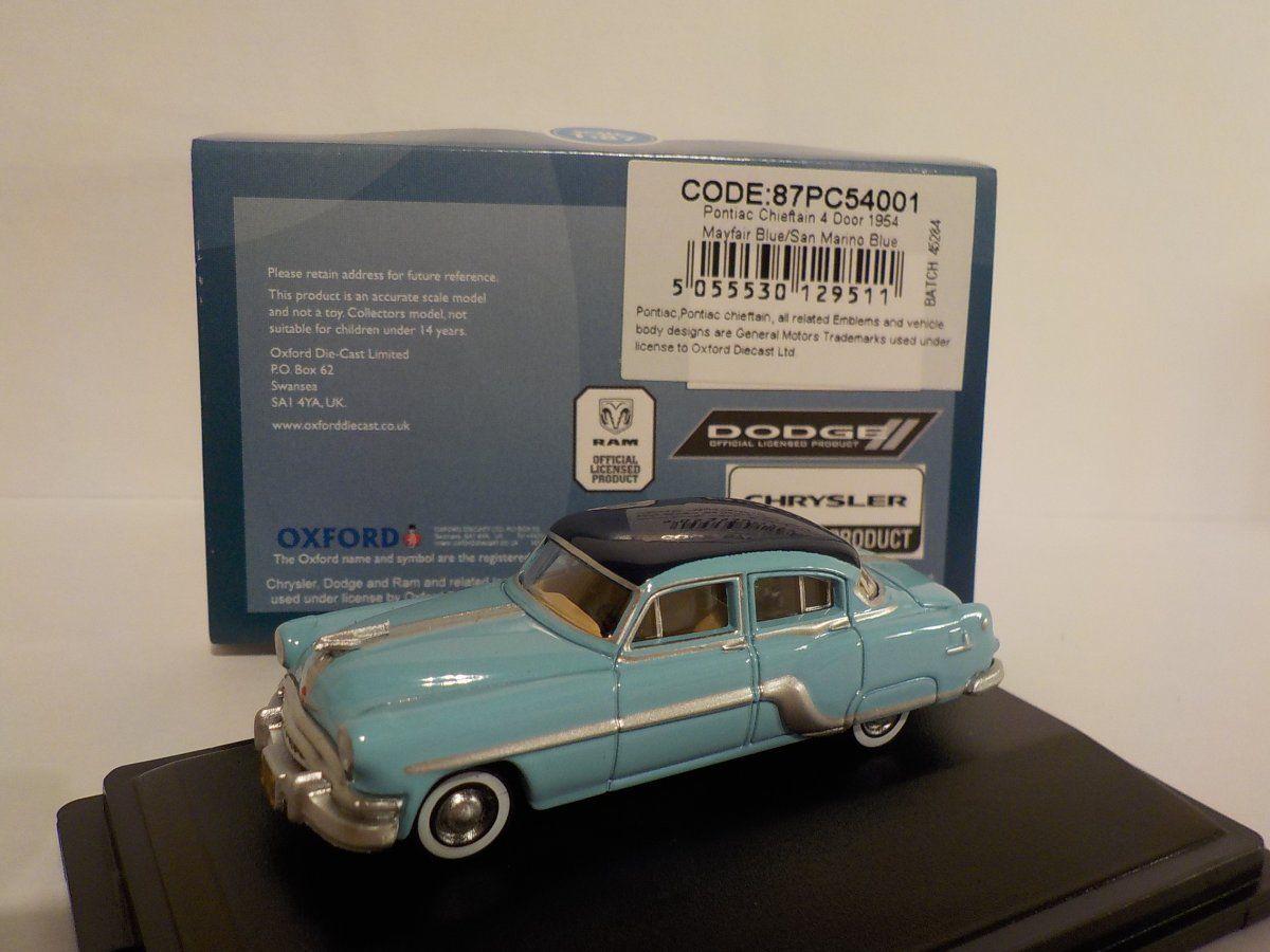 87PC54001 Oxford Diecast HO Gauge Pontiac Chieftain 4 Door 1954 Mayfair Blue