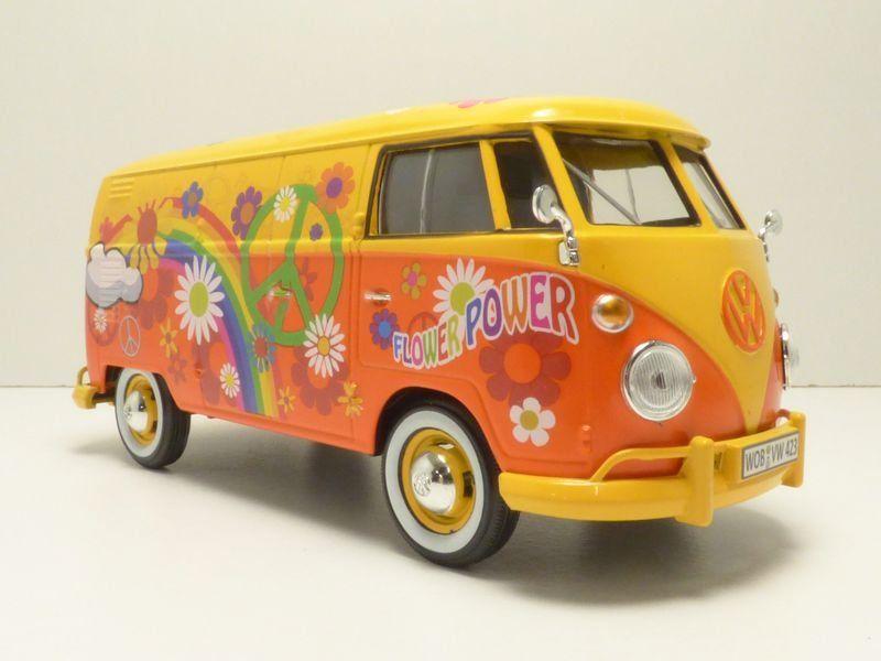 vw t1 van flower power hippie van new release motormax 1 24 ebay. Black Bedroom Furniture Sets. Home Design Ideas