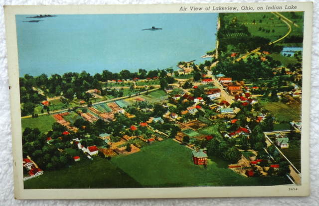 Postcard Aerial Air View Of Lakeview Ohio On Indian Lake 2 Ebay