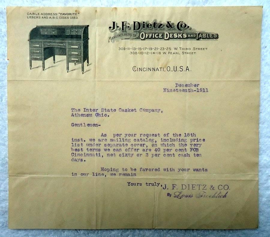 1911 ILLUSTRATED LETTERHEAD J F DIETZ U0026 CO OFFICE FURNITURE CINCINNATI OHIO  #6