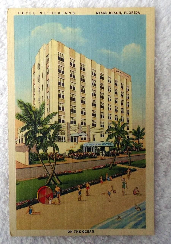 Linen Postcard Hotel Netherland Miami Beach Florida Pq2dj