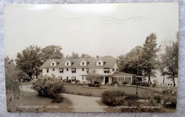 1941 Rppc Postcard Johnsons Hotel Lake Wawasee Syracuse Indiana