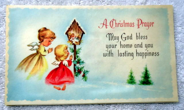 A Christmas Prayer.Details About Vintage Mid Century Christmas Card A Christmas Prayer Angels Baby Jesus B310