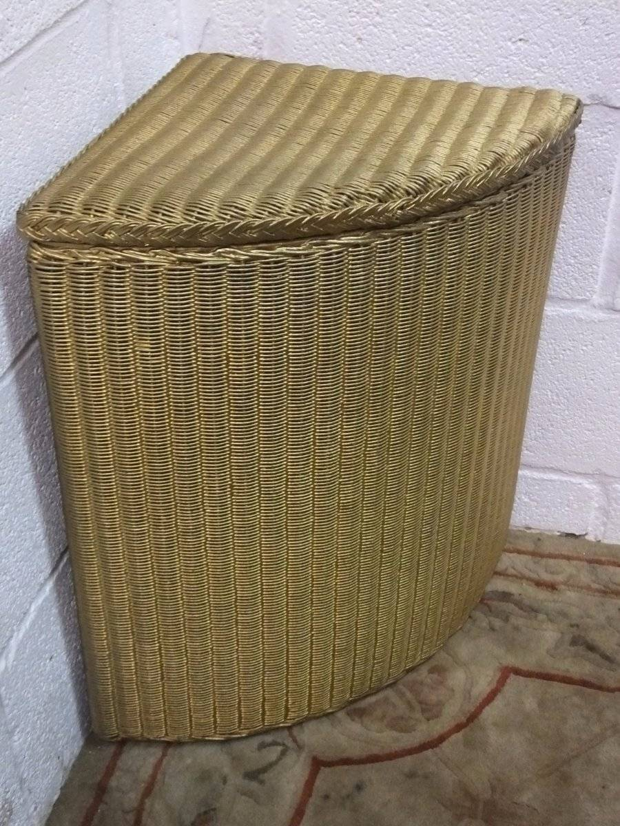 Storage Units For Cars >> LLOYD LOOM WICKER CORNER LINEN BASKET WASHING BIN, RE-PAINTED GOLD | eBay
