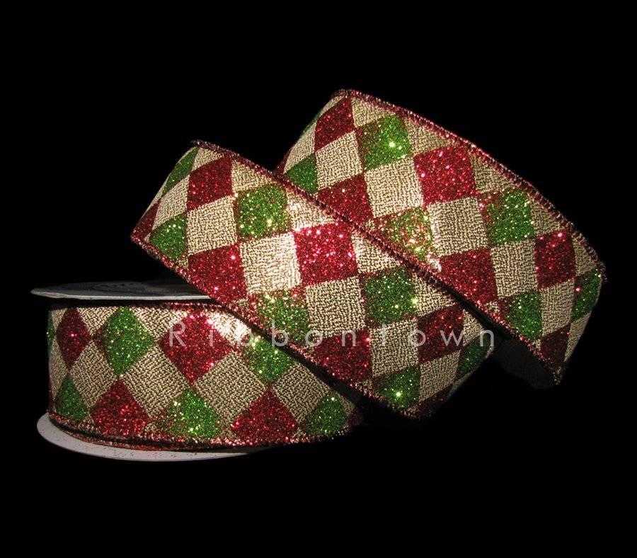 10 Yards Red Green Glitter Diamond Jester Harlequin Christmas Wired Ribbon 1 1//2