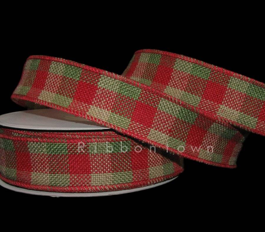 6 Yards Country Christmas Green or Red Gingham Plaid Craft Ribbon
