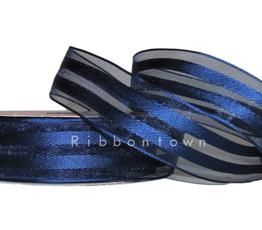 """5 Yards Solid Water Blue Semi Sheer Wired Ribbon 2 1//2/""""W"""