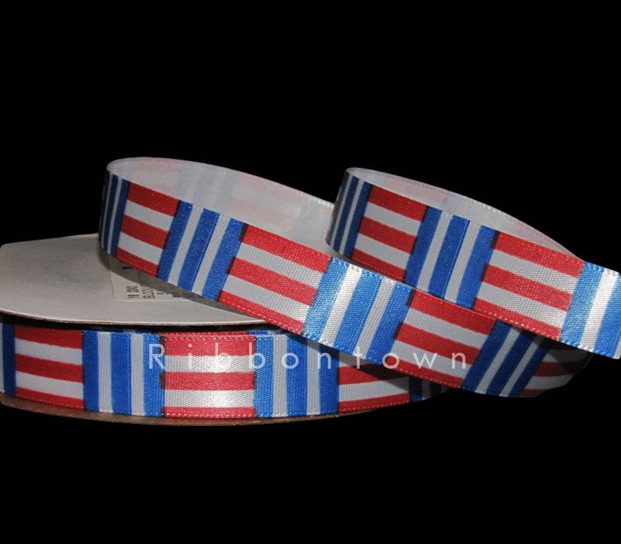 "5 yards 7//8/"" PATRIOTIC RED WHITE NAVY STRIPE GROSGRAIN RIBBON 4TH OF JULY"