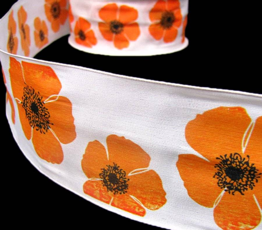 5 yards sale orange poppy flowers poppies white wired ribbon 2 12w description mightylinksfo
