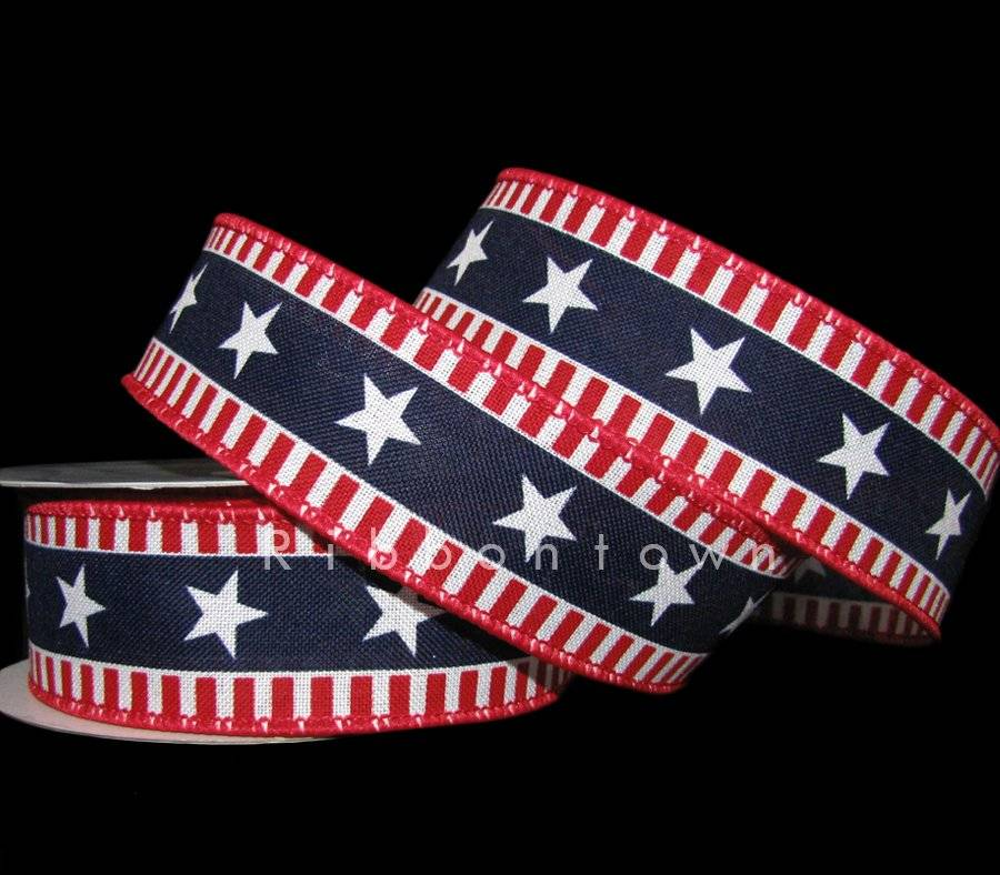 a1080b9fe99 10 Yards Patriotic Stars & Stripes Red White Navy Blue Wired Ribbon 1 1/2