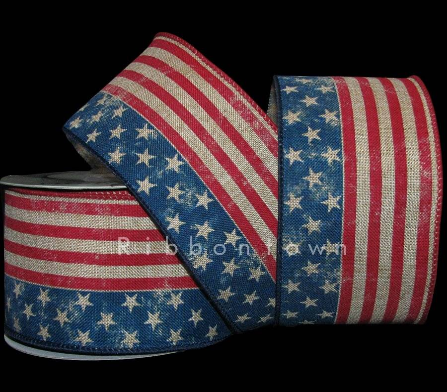 Red White Blue Flag America Wired Ribbon 2 1//2 Inch 9 Yards July 4th Patriotic