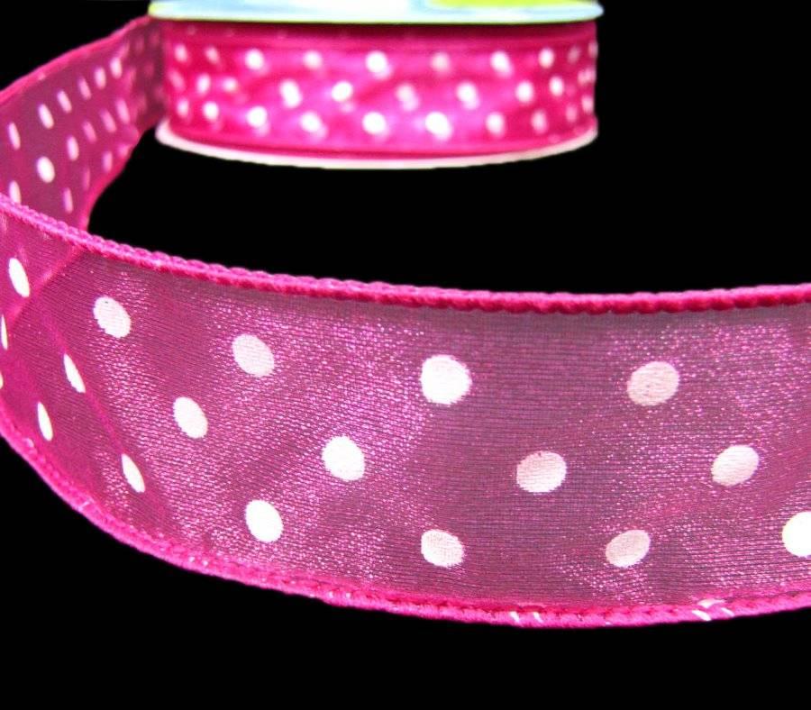 "5 Yards Colorful Polka Dot White Sheer Wired Ribbon 1 1//2/""W"