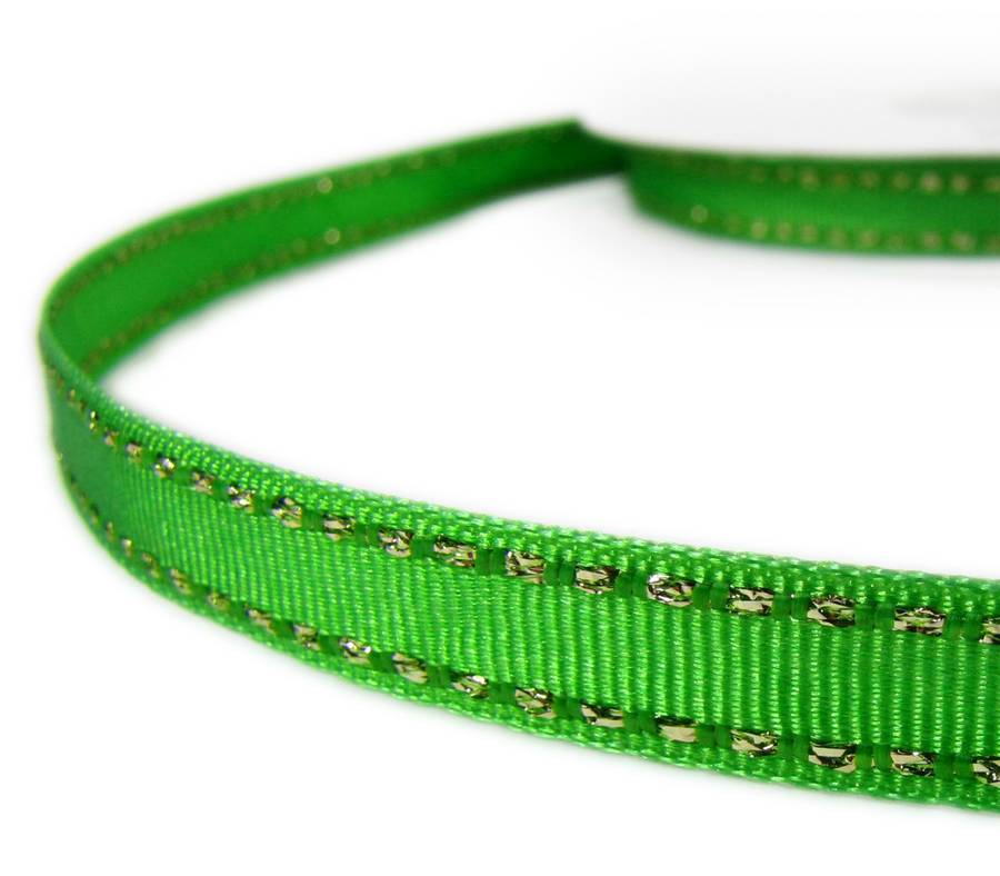 "2 Yds Metallic Gold Side Saddle Stitched Ivory Grosgrain Ribbon 3//8/""W"