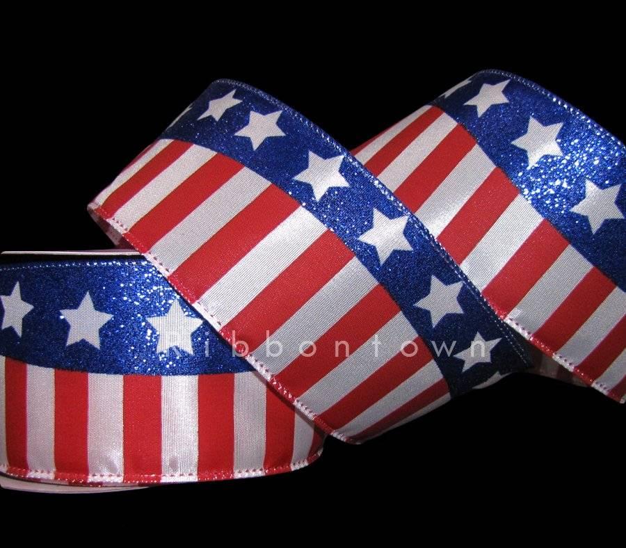 "MEMORIAL JULY 4TH STAR NAVY 7//8/"" Grosgrain Ribbon 1 5 10 Yards SHIP FROM USA"