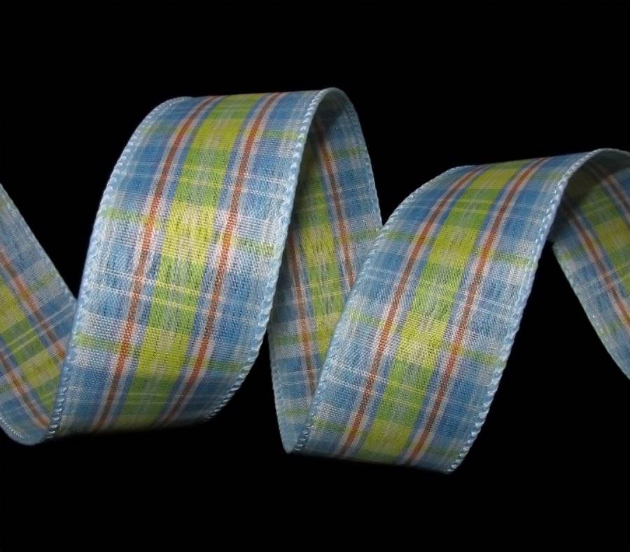 5 Yards Pastel Easter Baby Blue Yellow Plaid Wired Ribbon