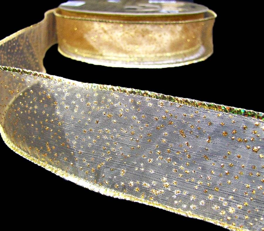 "5 Yards Christmas Gold Nugget Glitter Sheer Wired Ribbon 1 1//2/""W"