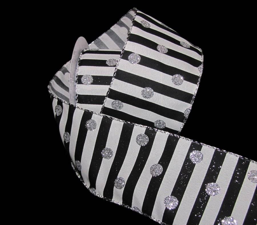 "5 Yards Wedding White Silver Metallic Stripe Wired Ribbon 2 1//2/""W"