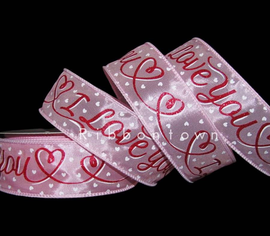 """5 Yards Love Valentine/'s Day Woven Hearts Red Wired Ribbon 1 1//2/""""W"""