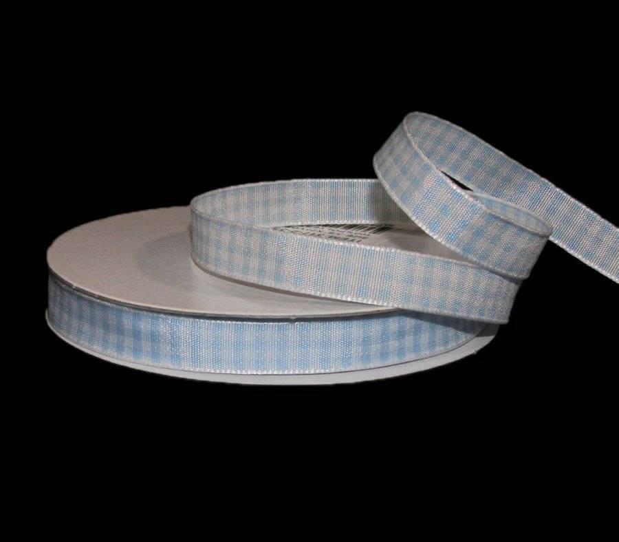 "5 Yards Light Blue White Gingham Checked Ribbon 5//8/""W"
