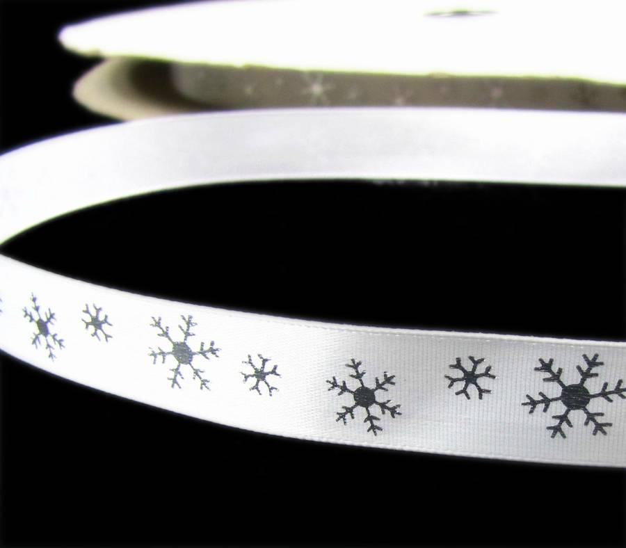 "10 Yds Christmas Xmas Silver Snowflakes Winter White Fiber Ribbon 7//8/""W SALE"