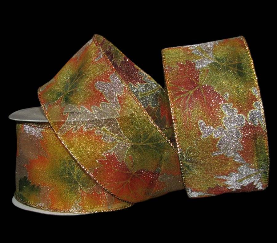 """25 Feet Fall Autumn Leaves Sheer Wired Ribbon 2 1//2/""""W"""