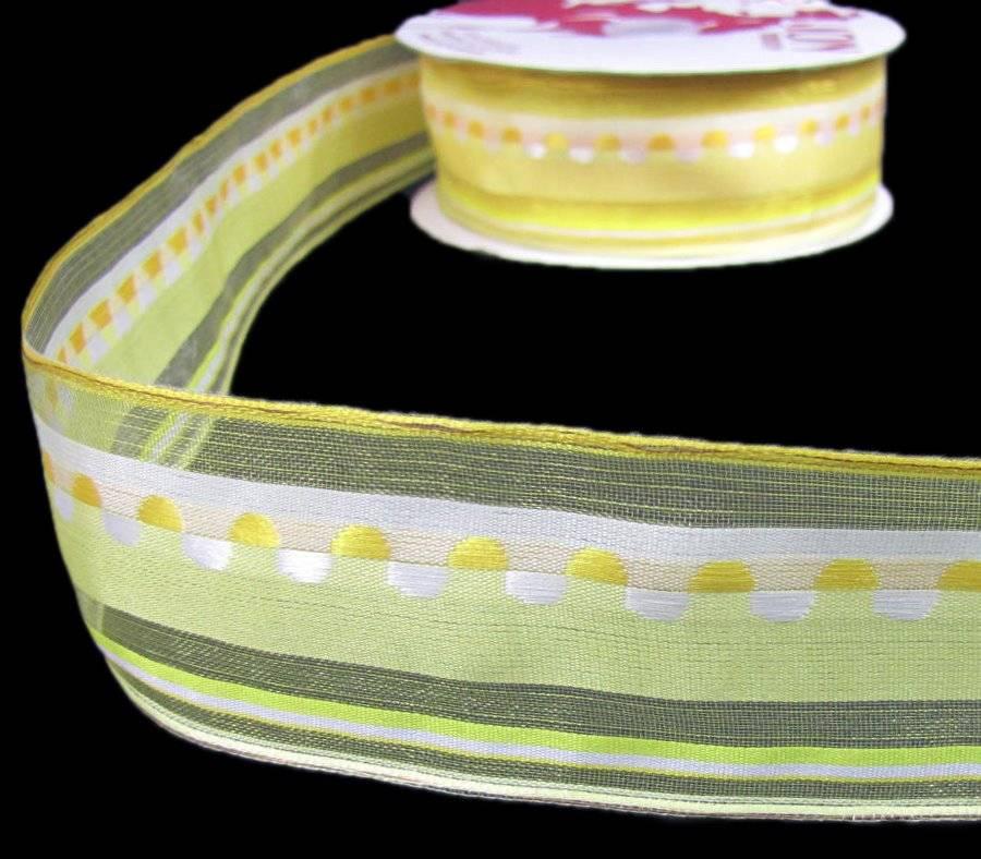 """5 Yds Orange Double Polka Dot Polkadot Stripe Woven Wired Ribbon 1 1//2/""""W"""