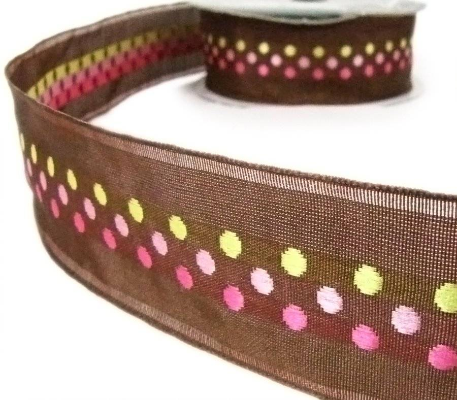 """5 Yds Pink White Polka Dot Reversible Woven Jacquard Ribbon 1/""""W"""